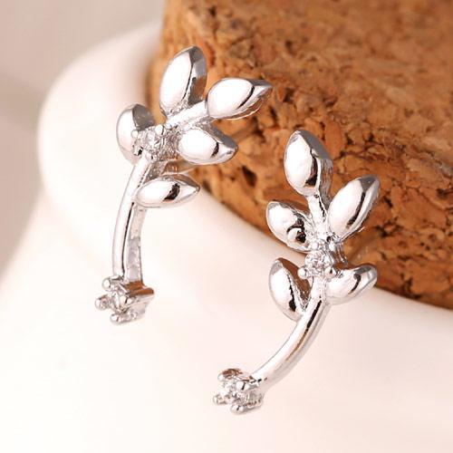 Сережки Веточка с маленьким камнем под серебро S003689