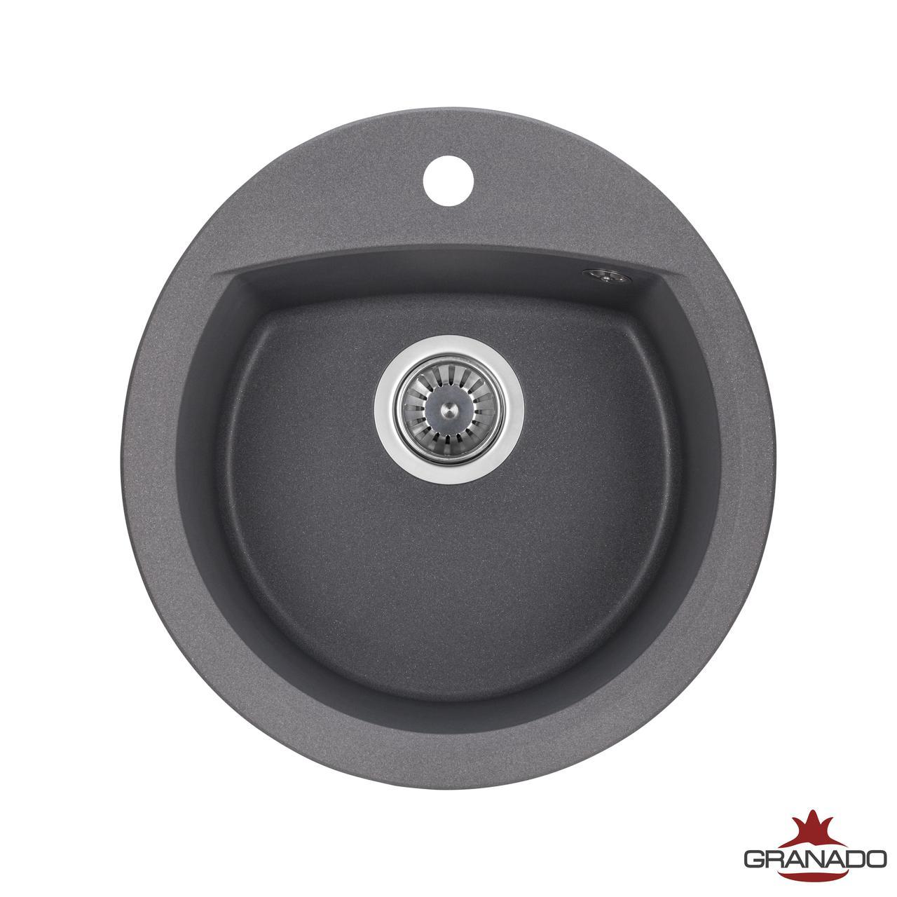 Кухонная гранитная мойка Ronda цвет Grafito круглой формы от производителя Granado