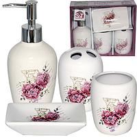 Набор 4предмета (мыльница, подставка для зубных щеток, стакан, диспенсер для мыла) 'Цветы'