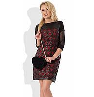 Оригинальное платье черное с красным Д-488