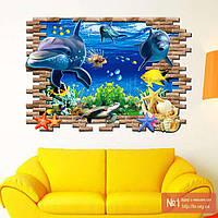 Интерьерная наклейка на стену Дельфины 3D