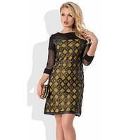 Оригинальное платье черное с желтым Д-501