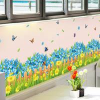 Интерьерная наклейка на стену Синие цветы