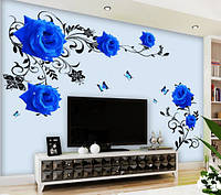Интерьерная наклейка на стену Синие розы
