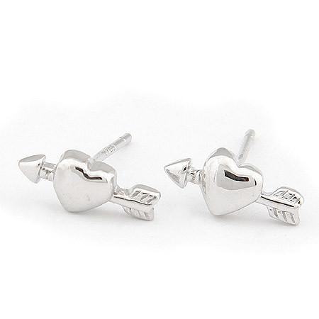 Сережки гвоздики Сердце со стрелой гладкие под серебро S004638
