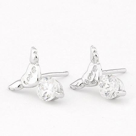 Сережки Сердечки под серебро с белым камнем S004706