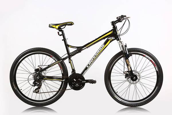 """Горный велосипед CROSSRIDE XC-100 MTB 26"""" 19""""  Черный/Желтый"""