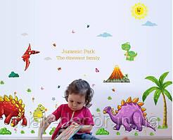 Интерьерная наклейка на стену Динозавры