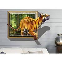 Интерьерная наклейка на стену Тигр 3D