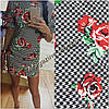 Женское трикотажное короткое платье с цветочным принтом