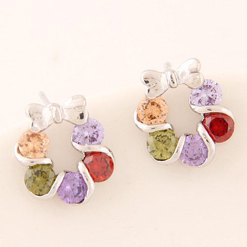 Серьги гвоздики Веночек с цветными камнями подсеребро S005544