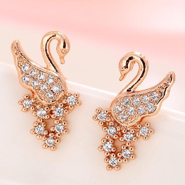 Серьги гвоздики Изящные лебеди под розовое золото S006131
