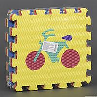 """Развивающий коврик пазл С 22979 EVA, 10шт в упаковке """"Транспорт"""" с массажным покрытием"""