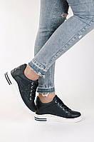 Стильные женские сникерсы черные, фото 1