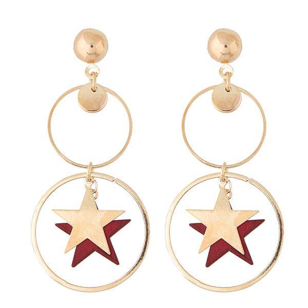 Серьги Кольца и звезды двойные красные S007905