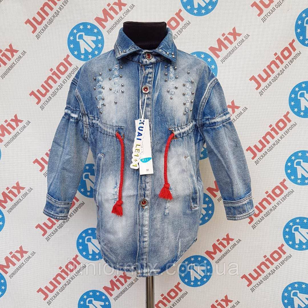Джинсовый модный пиджак для девочек оптом  KUAI