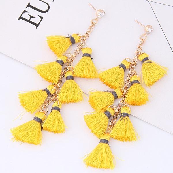 Модные серьги кисточки желтые S008797