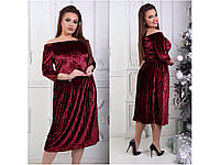 """Шикарное платье """"Бархат"""" с юбкой плиссе(50-56р батал размеры), модное женское платье. Разные цвета, размеры., фото 1"""