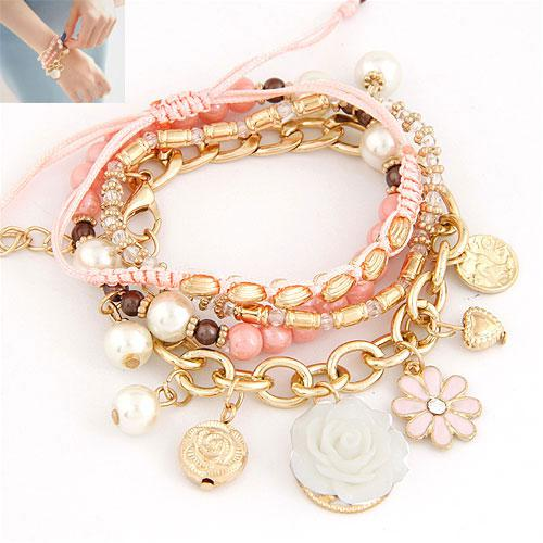 Набор браслетов золотые цепочки с розовыми шнурками  B002564