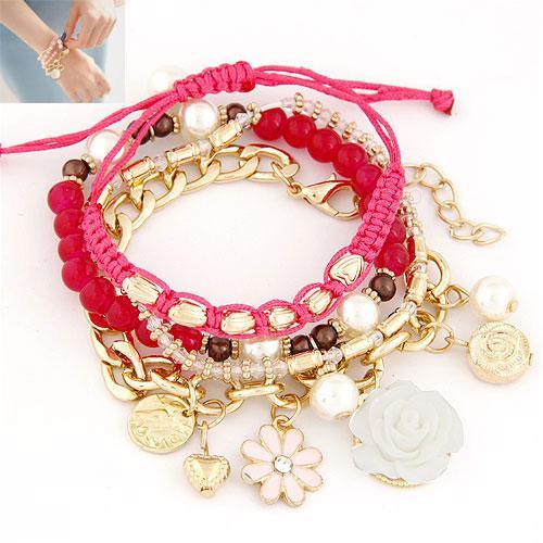 Набор браслетов золотые цепочки с малиновыми шнурками  B002565