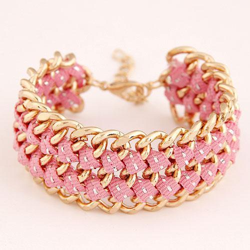 Браслет розовый с золотой цепочкой B002584