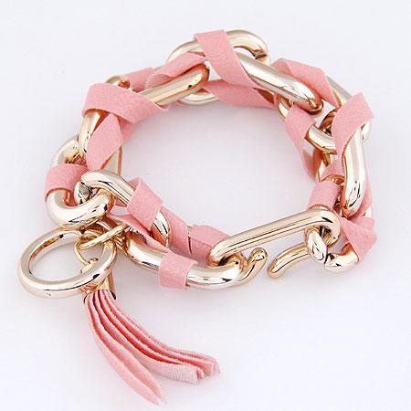 Браслет цепочка с золотыми звеньями и розовой лентой  B002604