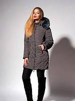 Утепленное зимнее женское пальто графитового цвета