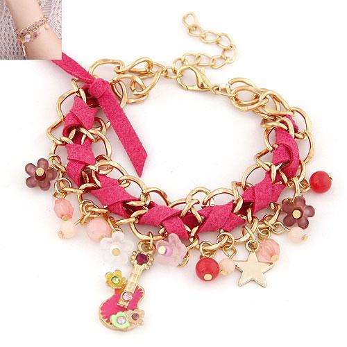 Браслет золотая цепочка с розовой лентой и подвесками B003794