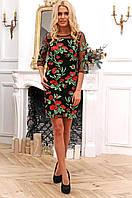 Яркое, нарядное платье с цветами на сетке 90273, фото 1