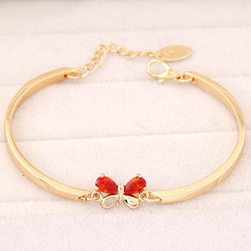 Браслет тонкий под золото Бабочка с красным камнем B004456
