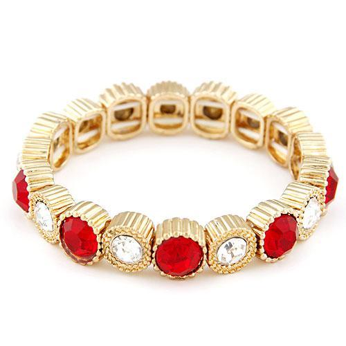 Браслет Красная роскощь с белыми и красными камнями B004896