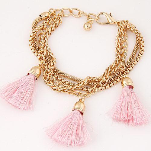 Браслет на руку золотые цепочки с розовыми кисточками B005472