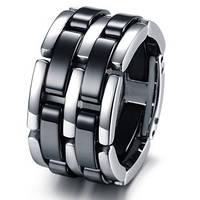 Мужское кольцо из стали и керамики (серебристо-черный), фото 1