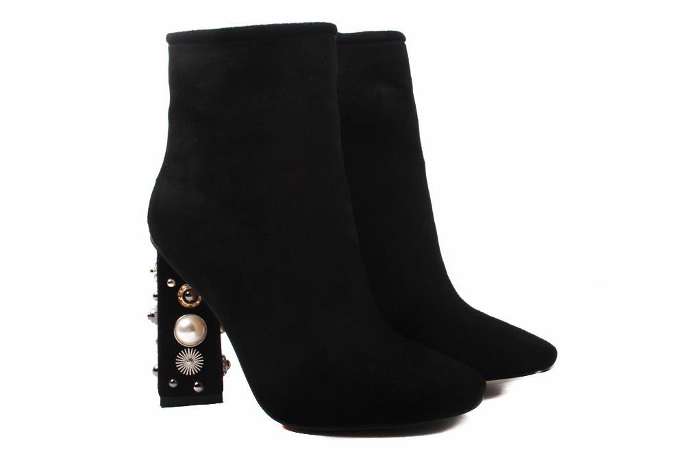Ботинки женские Stefaniya Nina эко-замш, цвет черный (ботильоны, каблук,  весна ae0b7c50cce