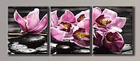 Картина модульная HolstArt Орхидеи на камнях 4 55*140см 3 модуля арт.HAT-138
