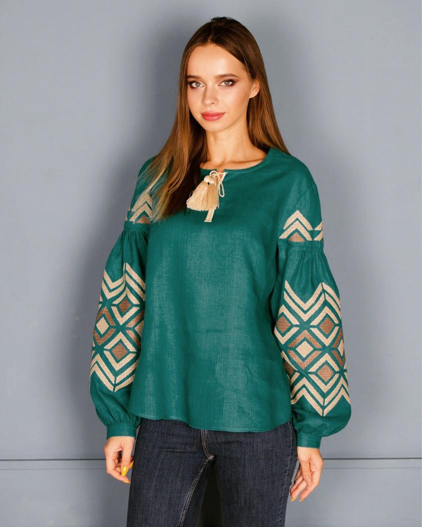 Зелена вишиванка ромби відтінки бежевого - Ексклюзивні Вишиванки  a5efe81e9a1c9