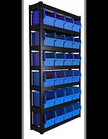 Стеллаж складской с ящиками кюветами боксами емкостями и контейнерами для болтиков Алмазная
