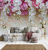 """3Д Фотообои на заказ """"Бело-розовые орхидеи"""""""
