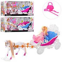Карета для кукол 689H  с лошадью 39см, кукла15см, в кор-ке, 42-19-12см