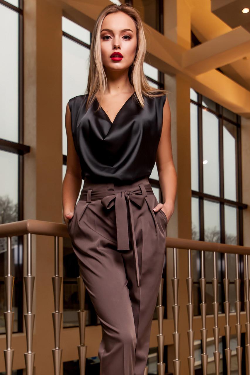 f1b417ec3f9 Соблазнительная Шелковая Блуза без Рукавов Черная S-XL - купить по ...