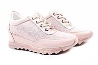 Сникерсы женские Alpino натуральная кожа, сатин, цвет розовый (ботинки, танкетка, весна\осень, Турция)