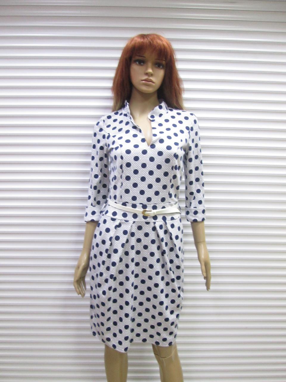 6990558747b Женское повседневное трикотажное платье Exclusive белого цвета в горох р. L  (48) -