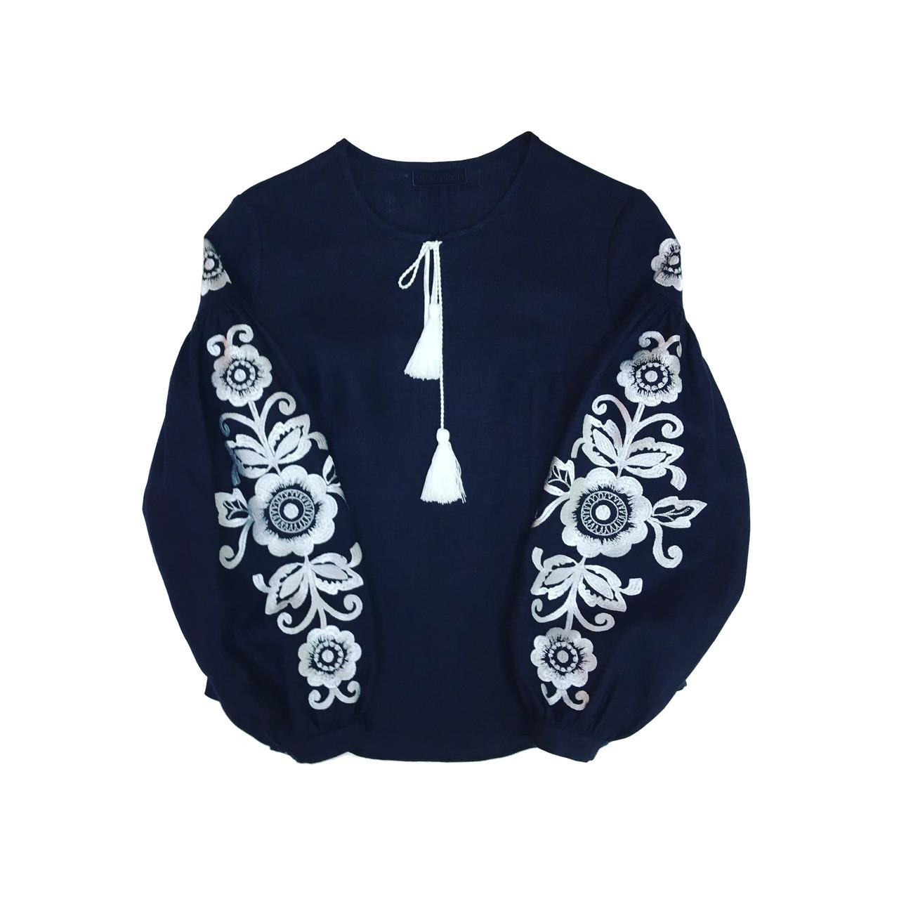 Вишиванка темно-синій льон вишивка етно-квітка біла  продажа 9639e1ef27f36