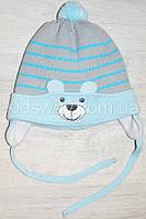 """Зимняя вязанная шапка, для новорожденных """"Bear"""", голубая"""