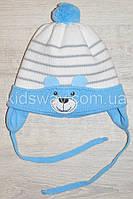 """Зимняя вязанная шапка, для новорожденных """"Bear"""", белая"""