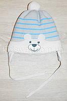 """Зимняя вязанная шапка, для новорожденных """"Bear"""", серая"""