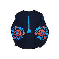 Стильна вишиванка темно-синій льон об'ємна квітка червоно-бірюза
