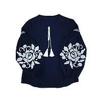 Вишиванка темно-синій льон вишивка на пишних рукавах біла об'ємна квітка