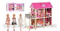 Домик вилла для кукол Барби 3шт с мебелью 100см, мотороллером, 2 этажа, 4 комнаты, терасса