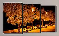 Картина модульная HolstArt Ночной город 3 54*94см 3 модуля арт.HAT-105